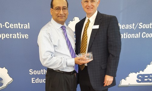 At its December meeting, the SESC Board of Directors recognized KDE Associate Commissioner Hiren Desai for his years of service as a liaison with the cooperative. Mr. Desai is taking a position with Fayette County School District.