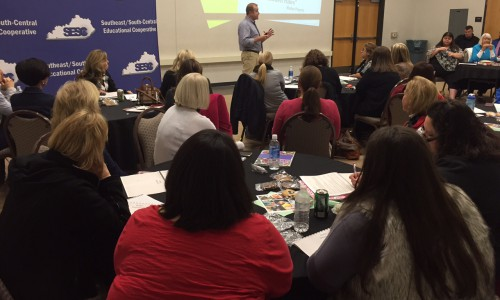 Dr. Tony Maxwell presents to a full room at the SESC Poverty Institute.