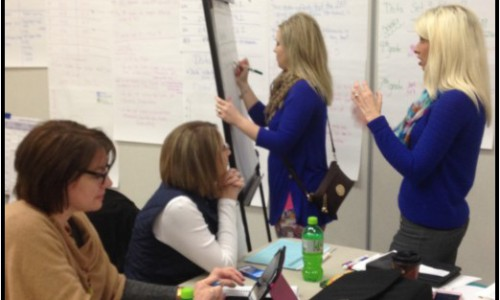 Knox County staff work on data analysis during a Data Retreat.