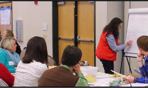 Staff from Middlesboro High School work as a team during a Data Retreat.