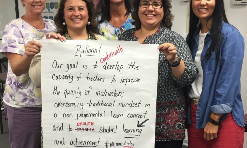 """PLC Training 3 – The team from Whitley County School District proudly displays work from the """"Leading Effective PLCs"""" training offered by SESC."""
