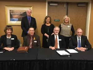 SESC recently co-sponsored, along with other educational cooperatives and the Kentucky School Board Association, the statewide Legislative Education Advocacy Day in Frankfort. Pictured are seven of the executive directors of Kentucky's coops, including SESC director Dr. David Johnson (seated, second from right).